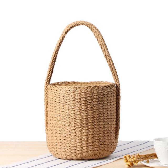 New Women Tote Bags Paper Rope Woven Straw Handbag Female Retro Bucket Solid Cylindrical Beach Bag Bohemian Ladies Bali Bag Tide