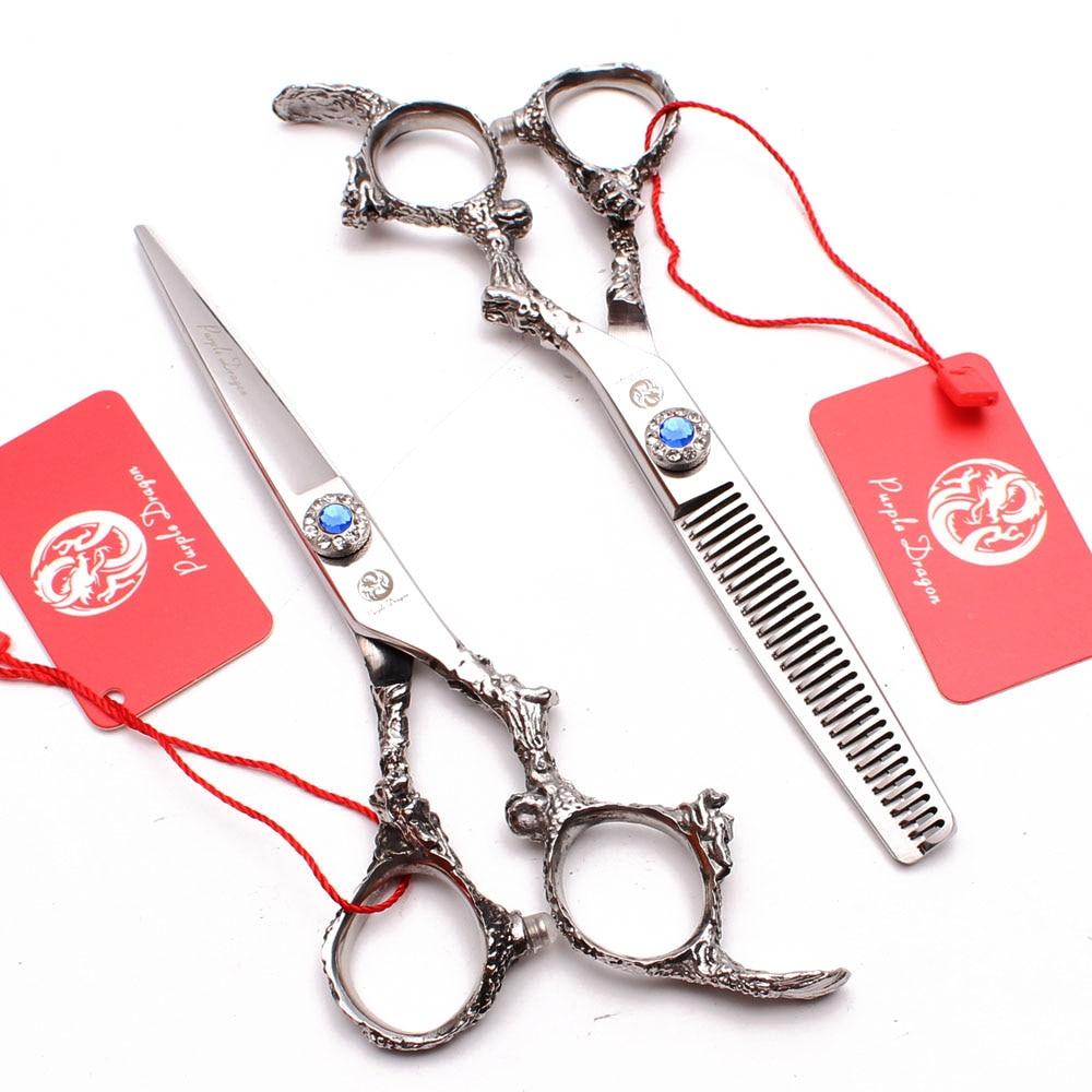 50Pcs 6 quot Purple Dragon 440C Haircut Set Cutting Scissors Thinning Shears Professional Hairdreser 39 s Scissors Hair Scissors Z9005 in Hair Scissors from Beauty amp Health