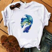 Camisas Mujer 2019 Womens Clothing Summer Top Graphic Animal White T shirt Harajuku Kawaii  Streetwear Modis Camisa Feminina