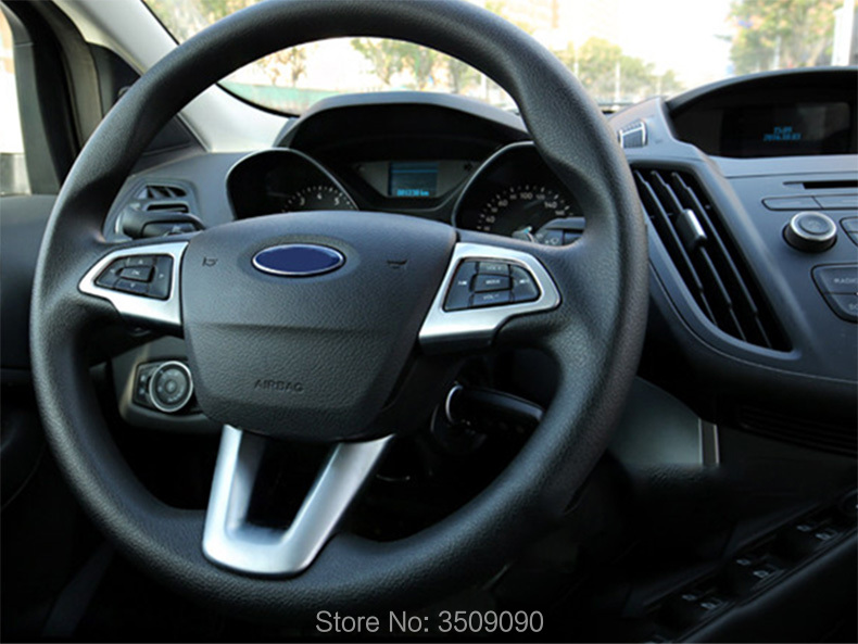 Car Chrome Steering Wheel Button Knob Trim Cover Sticker Car Styling 3pcs/set For Ford Kuga 2016 2017 2018 new product factory price high quality steering wheel audio control buttons for kia k2 rio steering wheel button