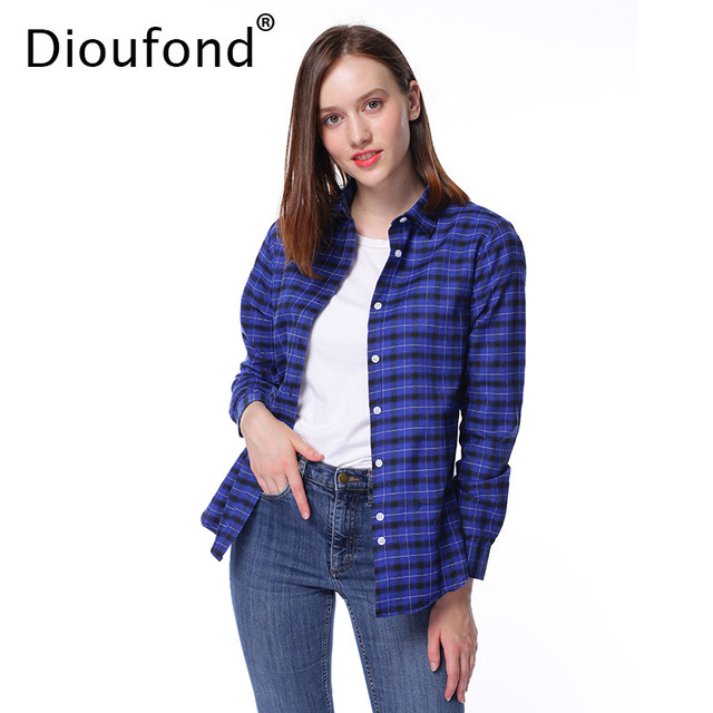 3c6466850c8 US $8.42 42% OFF|Dioufond Autumn Plaid Shirt Women Regular Long Sleeve  Checkered Shirt Casual Cotton Female Slim Outerwear Tops Blusas S 5XL-in ...