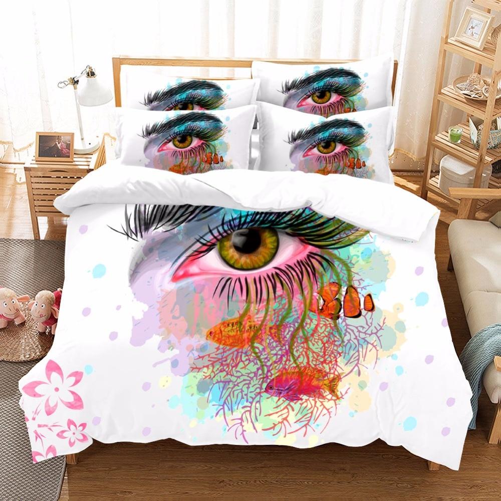 Home Textile Watercolor Eyes Butterfly Bedding Sets Duvet Cover Cotton Pillowcase Sheet Linen Floral Print Bedclothes Queen Size