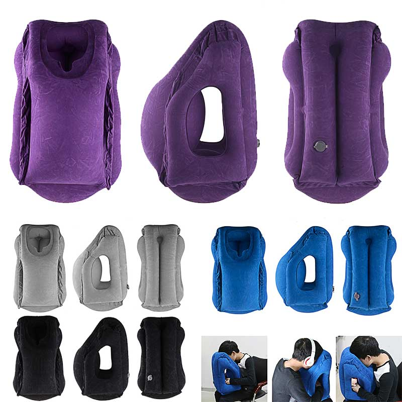 Inflatable Airplane Pillow Neck Chin Sleep Head Support Outdoor Travel Pillow The Most Diverse & Innovative Pillow for Traveling image