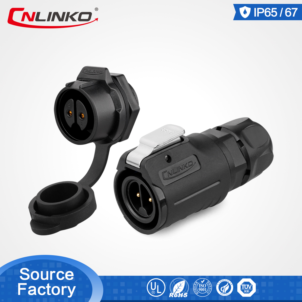 Cnlinko M16 2 Pin Plastic Waterproof Connector For LED Display LED Screen IP67 Connector 10A Power Plug & Socket Connector
