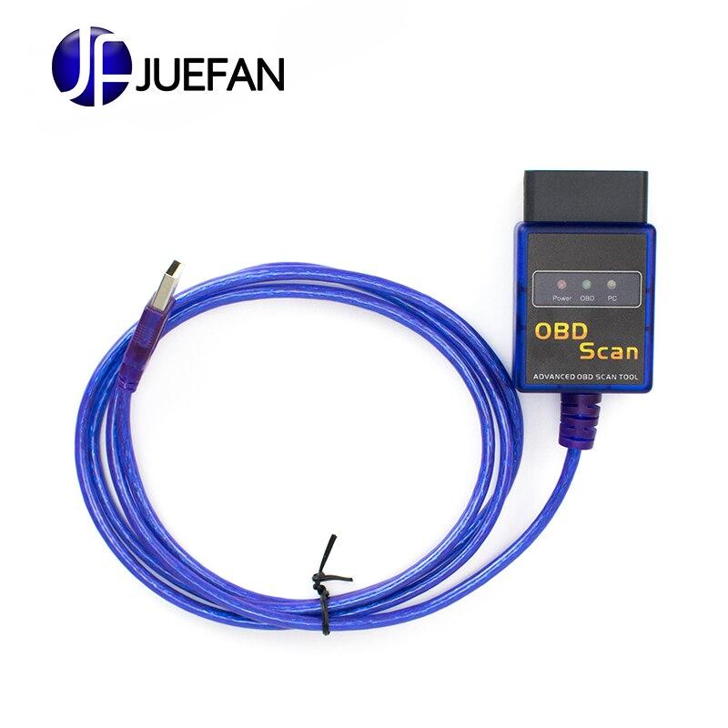 Lo nuevo en la versión ELM 327 V1.5 OBD 2 ELM327 interfaz USB herramienta de diagnóstico del escáner Cable código apoyo OBD II protocolos