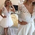 RM42 Sexy Branco Curto Prom Dress 2016 Frisada Lace Tulle Manga curta Uma Linha de Pérolas Prom Vestidos de Festa Vestido de Cocktail vestidos