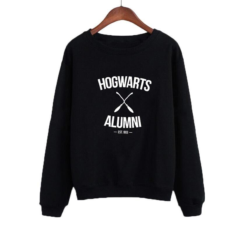 2019 Adult Sweatshirt Women Tops Casual Female Tracksuit Black White Hoodies Crewneck Hoodies Hogwarts Alumni in Hoodies amp Sweatshirts from Women 39 s Clothing