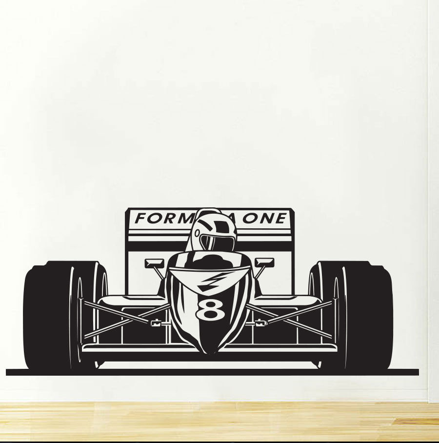 Formula 1 ONE Bolid Sports Race Car Wall Decal Art Decor Sticker Vinyl Wall Stickers For Boys Bedroom Baby Wall Decals Mural 687 sticker