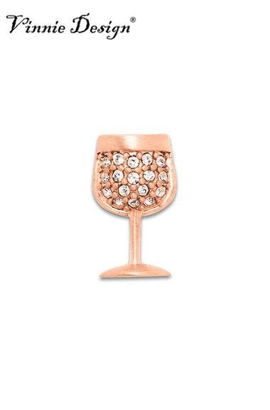 Vinnie Design Jewelry WINE GLASS Slide Charms fit on Keepers Bracelets Crystal Keys for Wrap Bracelet 10pcs/lot