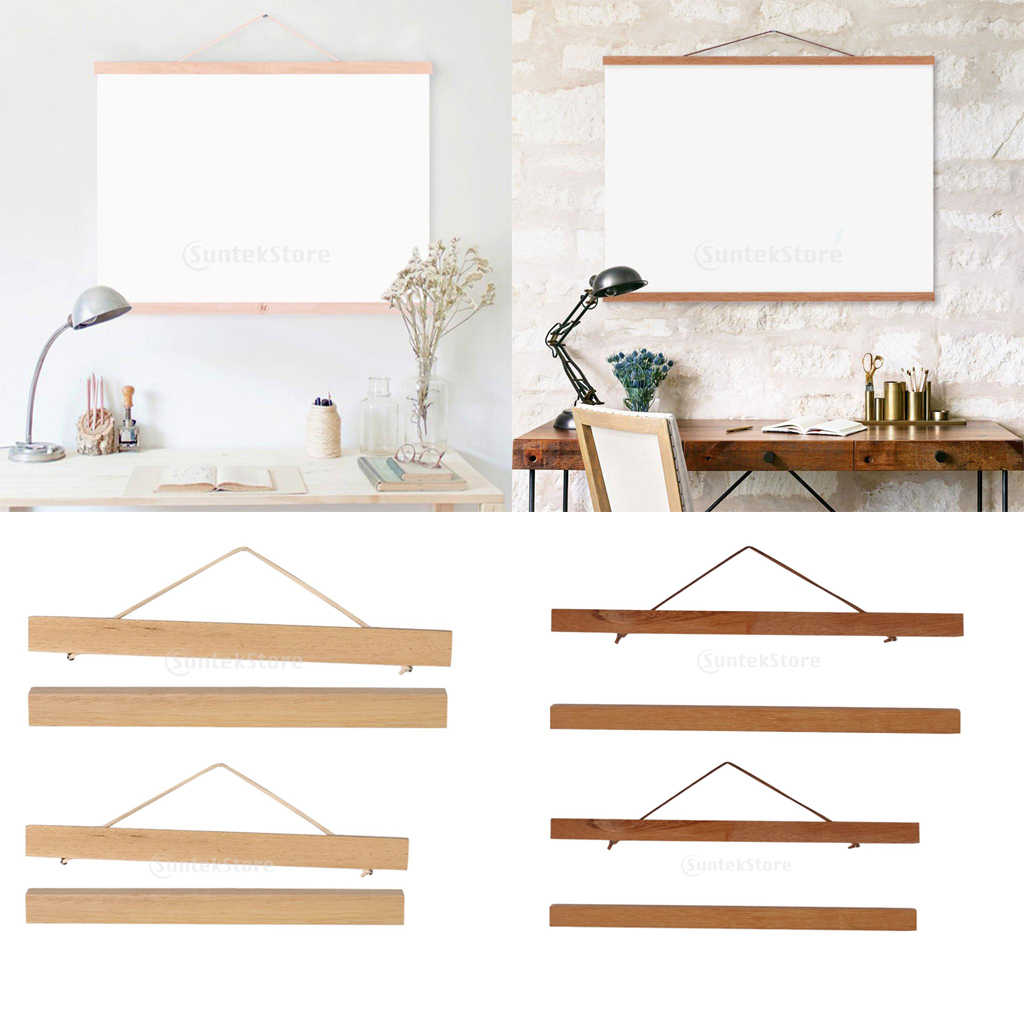 2Pcs Magnet Wooden Picture Frame DIY Photo Poster Hanger Wall Art Decor