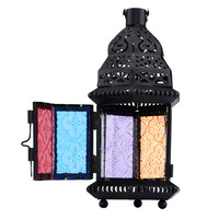 Color Glass Candle Holder Metal Vintage Moroccan Style Iron Lantern Candleholder For Wedding Home Decoration Matching