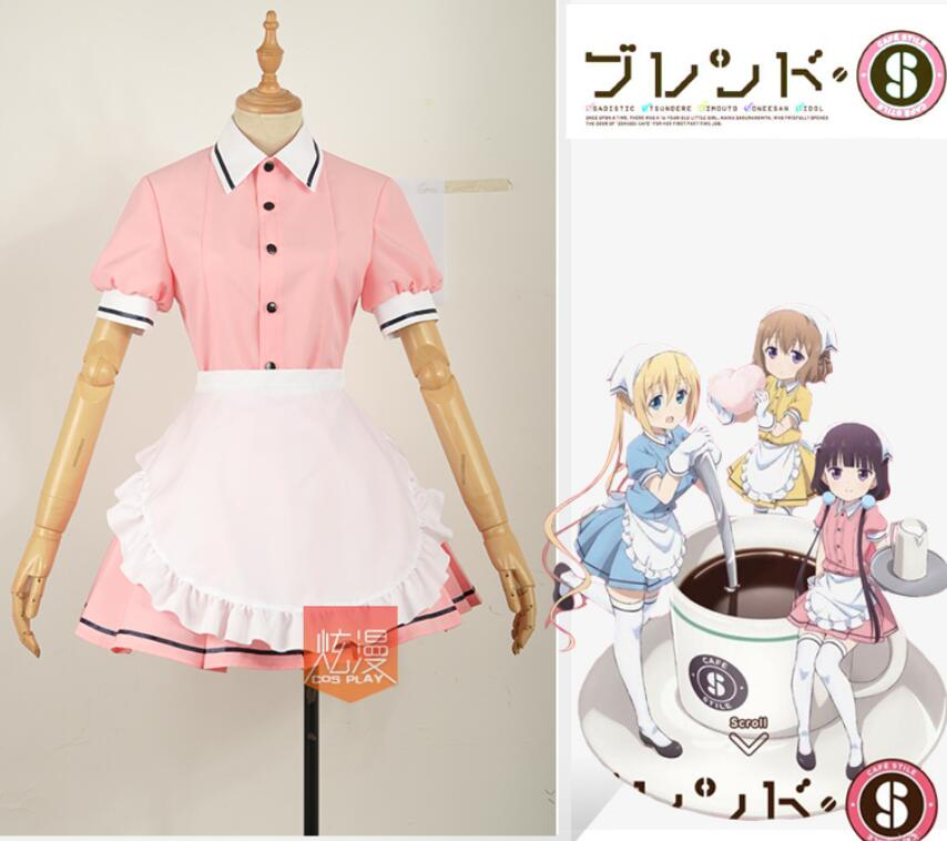Anime Blend S Sakuranomiya Maika Cosplay Costume Japanese Pink Coffee Maid whole set dress with wig+shoes Cosplay Costumes