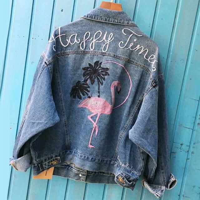Automne femmes de broderie lettre denim veste Vintage surdimensionné courte de base veste Hiver casual bouton streetwear veste manteau