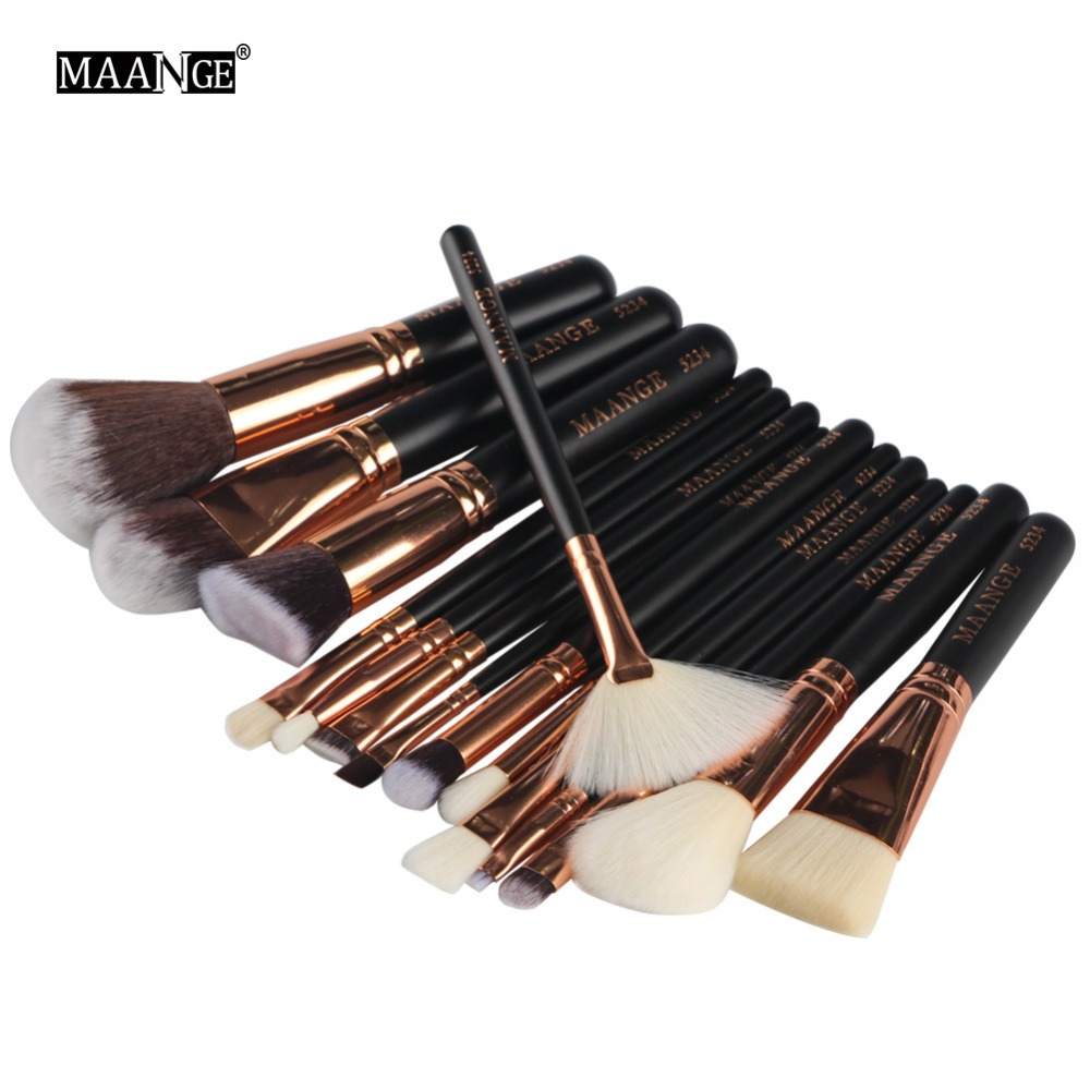 15pcs Beauty Bamboo Professional Makeup Brushes Set Foundation Powder Blush Eye Shadow Eyeliner Lip Blend Make up Brush MA107