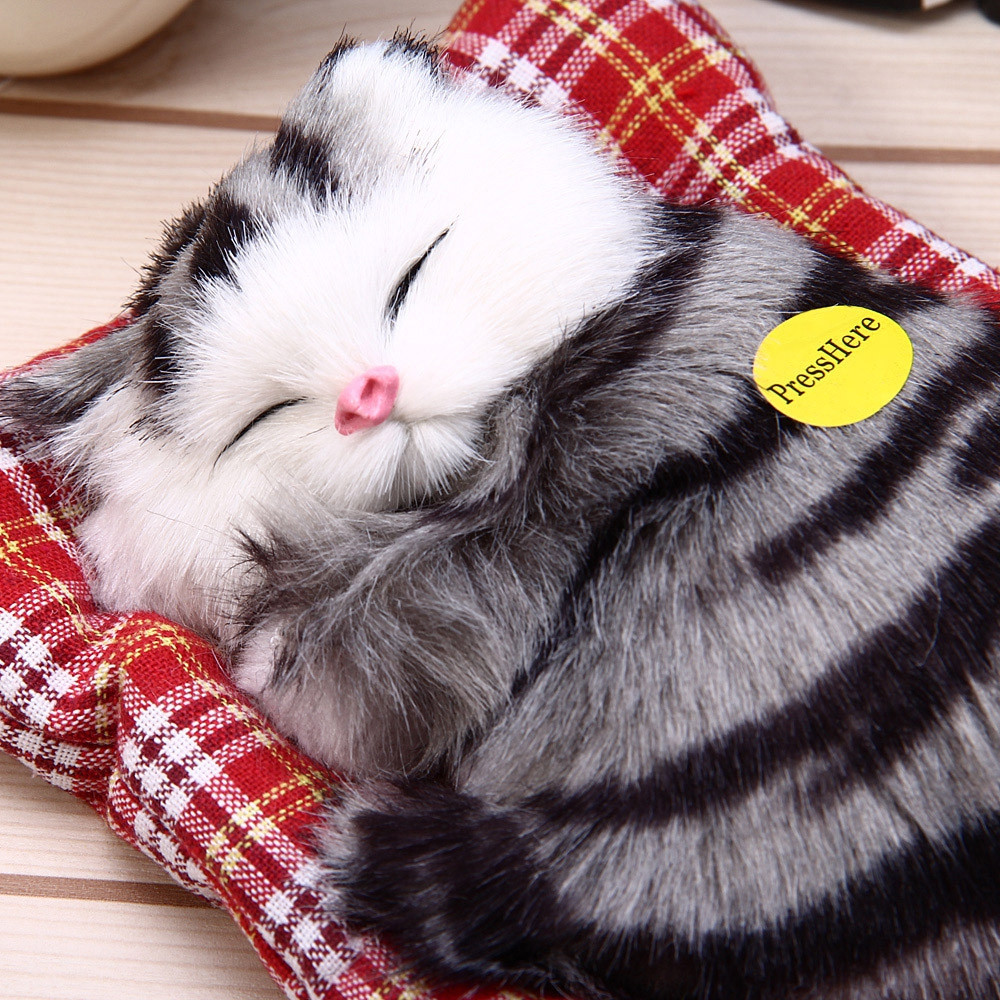 Lovely Simulation Sleeping Cat Animal Doll Plush Sleeping Cats with Sound Kids Toy Decorations Birthday Xmas Gifts for Children large 24x24 cm simulation white cat with yellow head cat model lifelike big head squatting cat model decoration t187