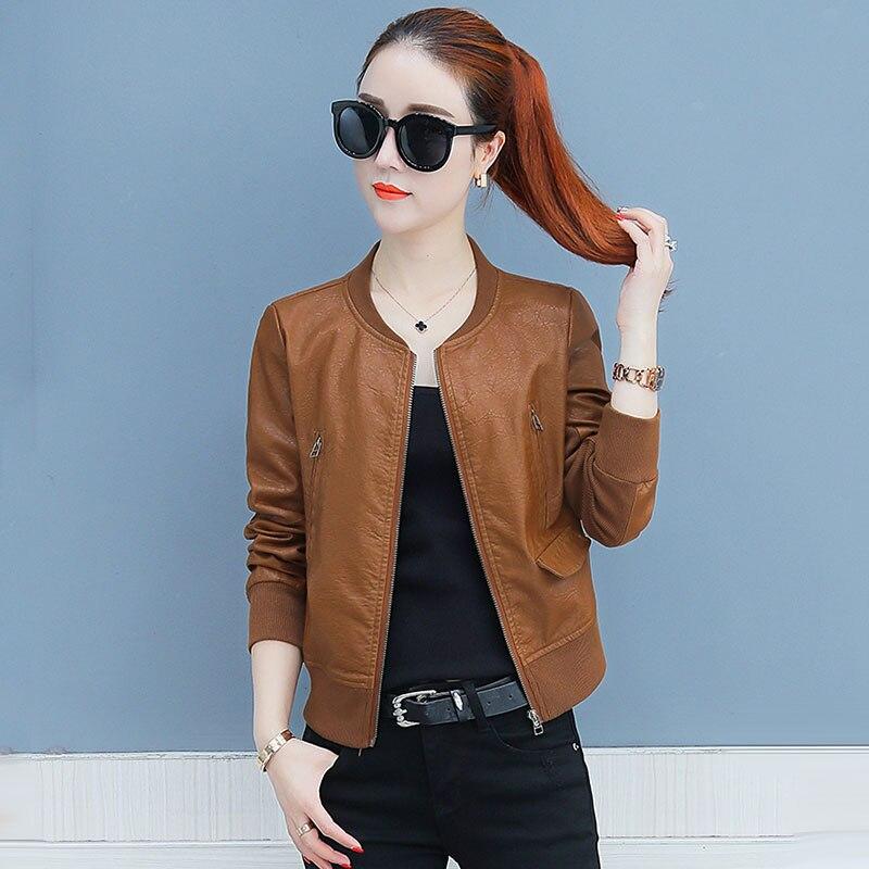 Nouveau femmes Faux peau de mouton en cuir vestes et manteaux dames court mince en cuir souple Biker veste femme PU cuir vêtements