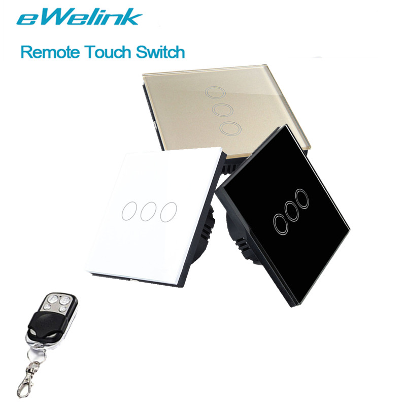 eWelink EU/UK Standard Touch Switch 3 Gang 1 Way,RF433 Wall Light Switch, Wireless remote control switch For Smart home ewelink eu uk standard light touch switch crystal glass panel 3 gang 1 way wall light touch screen switch for smart home