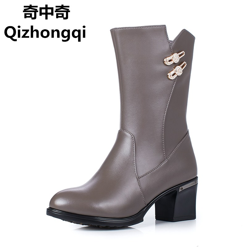 Plus size 35-43 # female winter boots 2017 genuine leather women's boots wool cotton shoes sexy fashion motorcycle boots women цены онлайн