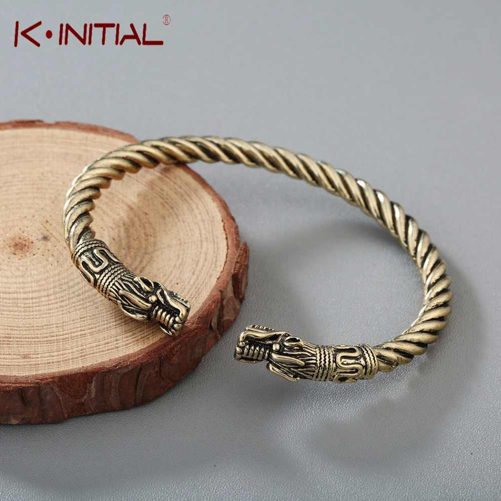 Kinitial Mens Open Bracelets Elastic Adjustable Viking Two Dragon Head Arm Bracelet Twisted Cable Cuff Bangle Punk Jewelry
