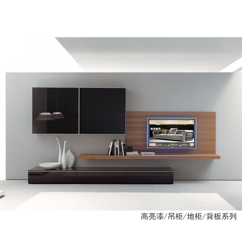 Tv Cabinet Back Wall Storage System Combination Veneer