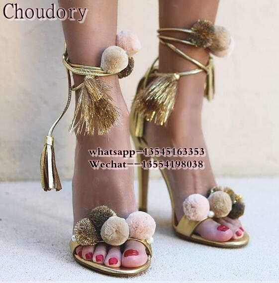 hot selling women multi color pom pom sandals thin high heel fringe lace up cover heel sandals open toe fashion party footwear open shoulder pom pom trim top