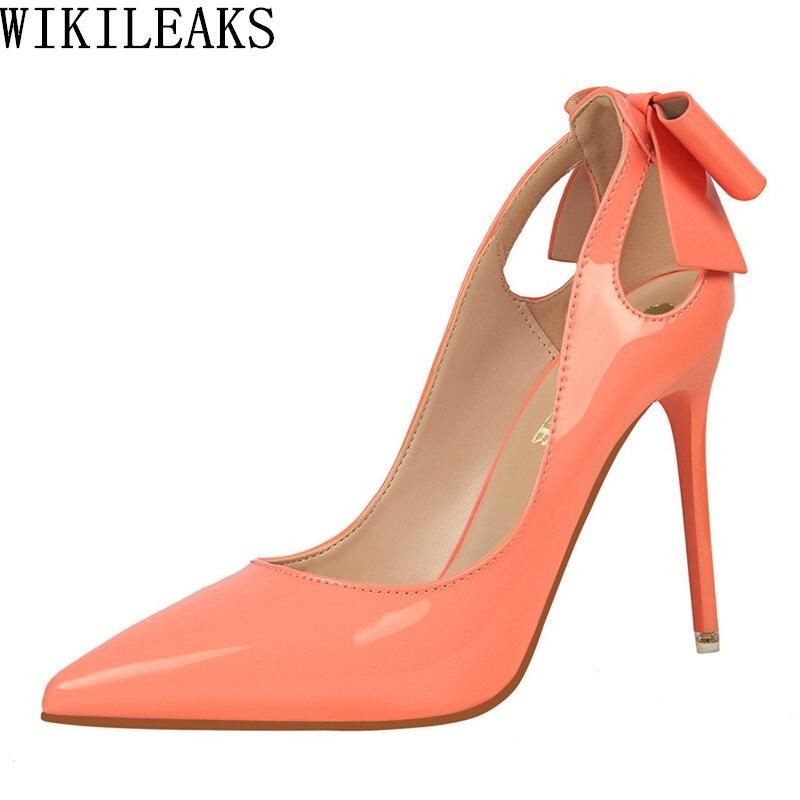 Rojo Extreme tacones altos zapatos mujeres de lujo 2018 marca señoras bigtree zapatos de Boda nupcial zapatos del estilete bombas bowknot