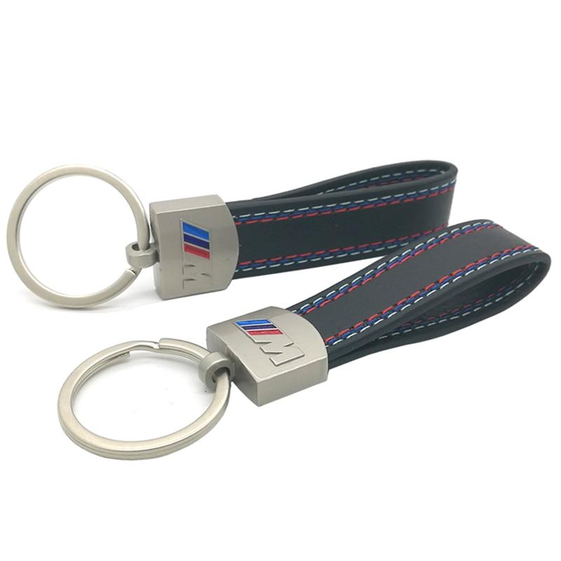 Leather Belt Chrome Keyring Keychain Key Chain For BMW M Tech M Sport E46 E39 E60 F30 E90 F10 F30 E36 X5 E53 E30 E34 X1 X3 M3 M5