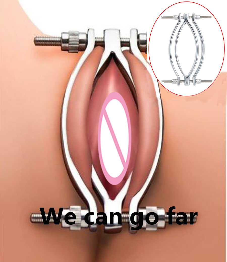 Stainless Steel Vagina Clamp Speculum, Screw Labia Stretching,Chastity Pussy Clitoris Pincher,Exotic Sex Toys