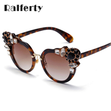 Ralferty 2017 Cat Eye Sunglasses Women Luxury Flower Crystal Sun Glasses UV400 Gradient Lens Eyewear Tortoise Shades Oculo X1759