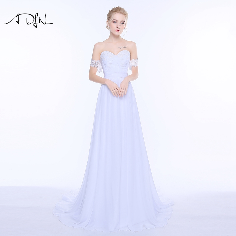 ADLN Bohemian Cheap Wedding Dresses Romantic Off the Shoulder Detachable Train Chiffon Beach Bridal Gown Robe
