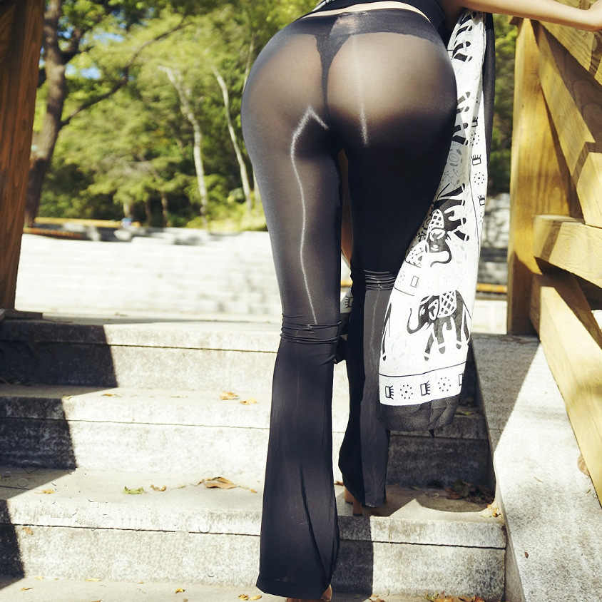 55e344717365e5 Super Elastic Pajama Pants Women Sexy Transparent Leggings Woman Base Thin  Ice Silk Sexy Silky Sexy