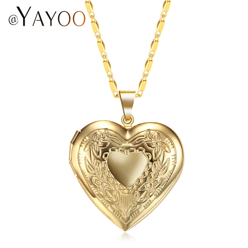 AYAYOO Necklaces & Pendant Romantic Heart Photo Frame Locket Necklace Women Statement Choker Gold/Silver Color Necklace ...