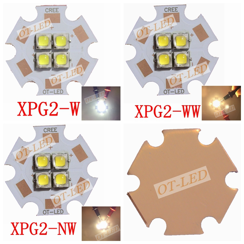 1PCS 6V/12V Cree XPG2 XP-G2 4Chips 4-18W LED Car Light Emitter instead of XHP50 Cool Warm White LED with 20MM Cooper PCB