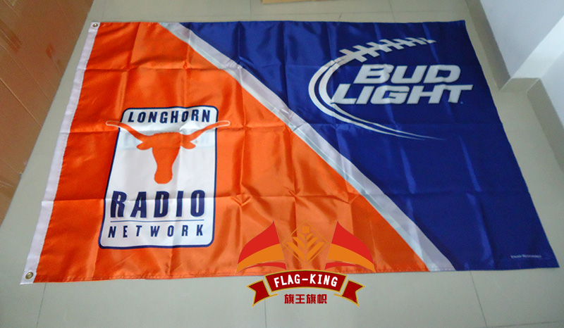 free shipping University of <font><b>Texas</b></font> with BUD satin Flag ,90X150CM size,Digital printing,double layers