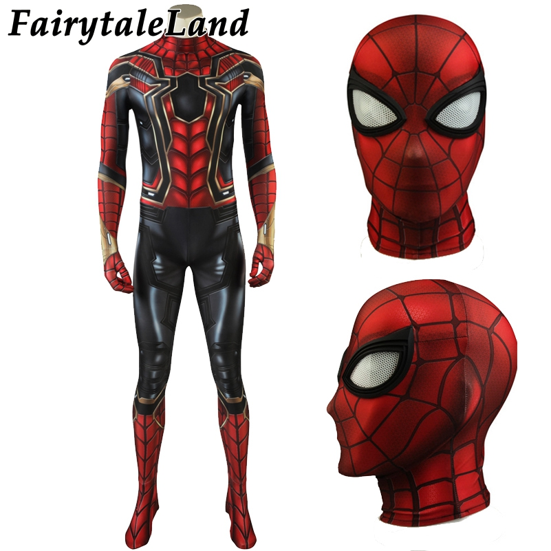 Spider-Man Costume Cosplay Avengers Infinity War Halloween Superhero Spider Man Jumpsuit Peter Parker Costume Spandex Jumpsuit