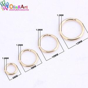 Позолоченное кольцо OlingArt KC, 6 мм/9 мм/10 мм/12 мм, соединительная петля, смешанный размер, коннектор для самостоятельного изготовления ювелирны...