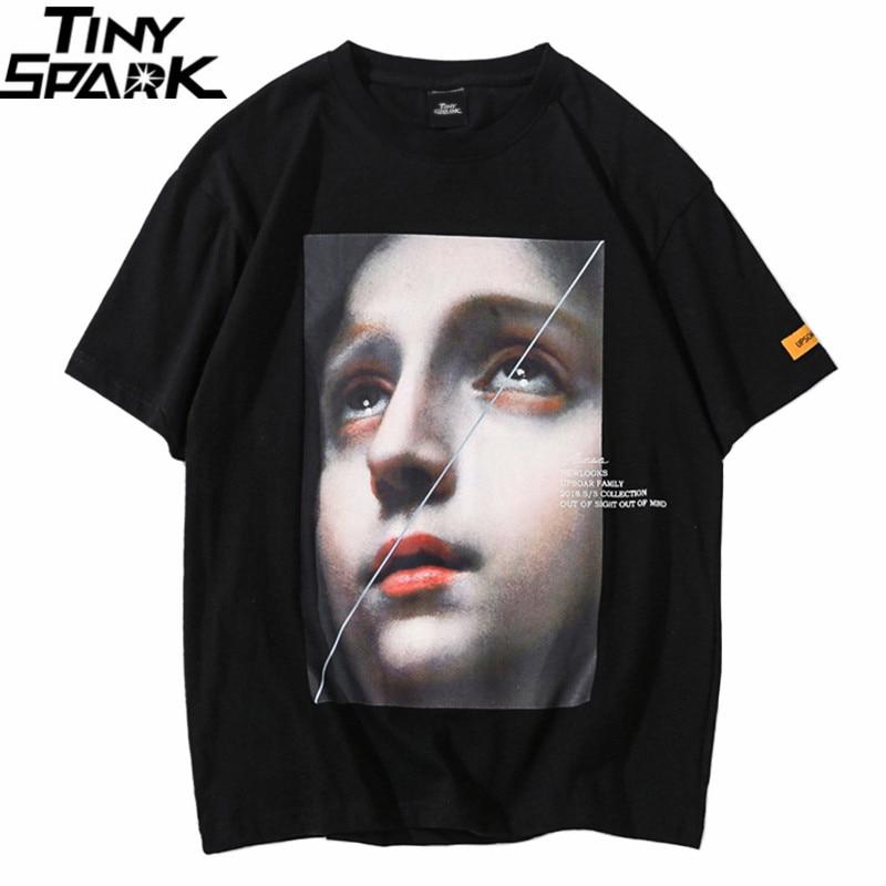 Men Harajuku   T     Shirt   Funny Little Girl Hip Hop   T  -  Shirts   Streetwear 2019 Summer Short Sleeve Tshirt Cotton Tops Tees Black White