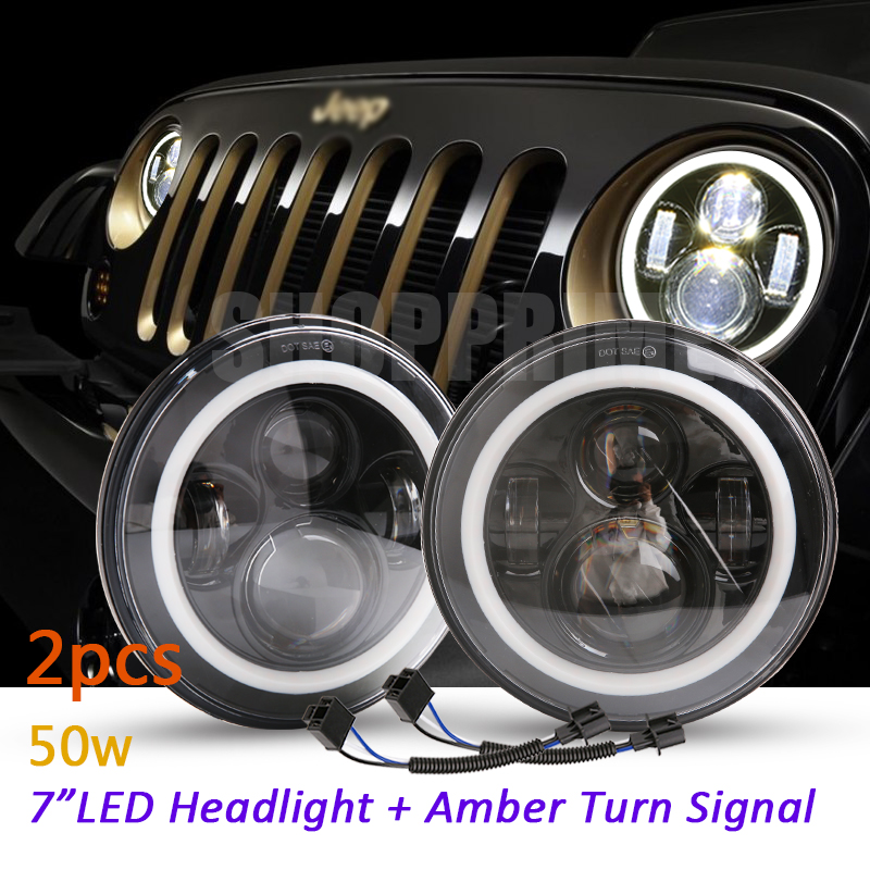 2Psc 7 Inch LED Headlight H4 H13 Hi-Lo With Halo Angel Eyes For Lada 4x4 urban Niva Jeep JK Land rover defender Hummer original laptop motherboard for da0zhrmb6c0 100