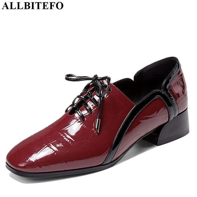ALLBITEFO natuurlijke echt leer leisure hoge hak schoenen mode dames vrouwen hakken casual lente herfst meisje hoge hakken