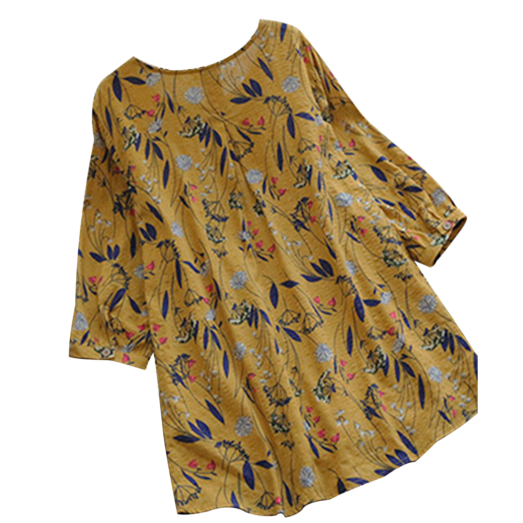 c9fe7fc7ca3 Plus Size 4X 5X New Fashion Cotton Womens Tops And Blouses Summer O Neck  Floral Long