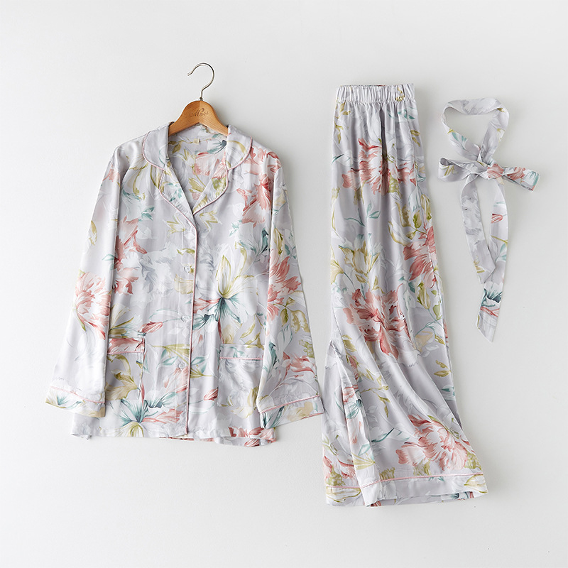 CEARPION Spring Women   Pajama     Set   Elegant Sleepwear Casual Daily Floral Print 2Pcs Shirt&Pant Nightgown Femme Night Wear
