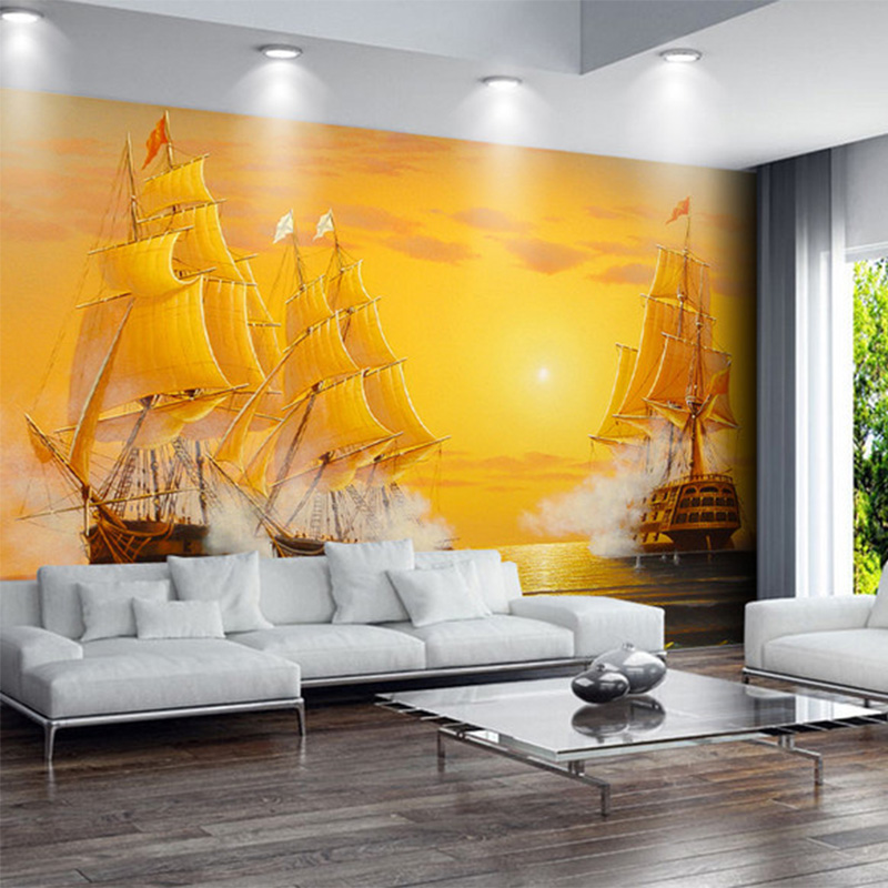 HD Golden Oil Painting Sailing Boat Photo Wallpaper For Study Living Room Sofa Backdrop Wall Mural Papel De Parede 3D Paisagem