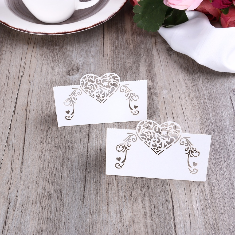 50pcs Laser Cut Heart Shape Place Cards Wedding Name Cards Wine ...
