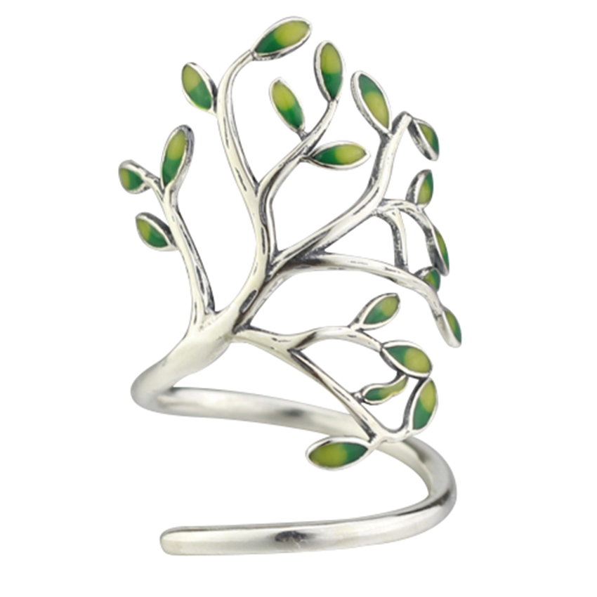 Meetcute Fashion Handmade Tree Sahpe Rings Resin Leaves Opening Rings Special Design Plants Jewelry Adjustable Ring