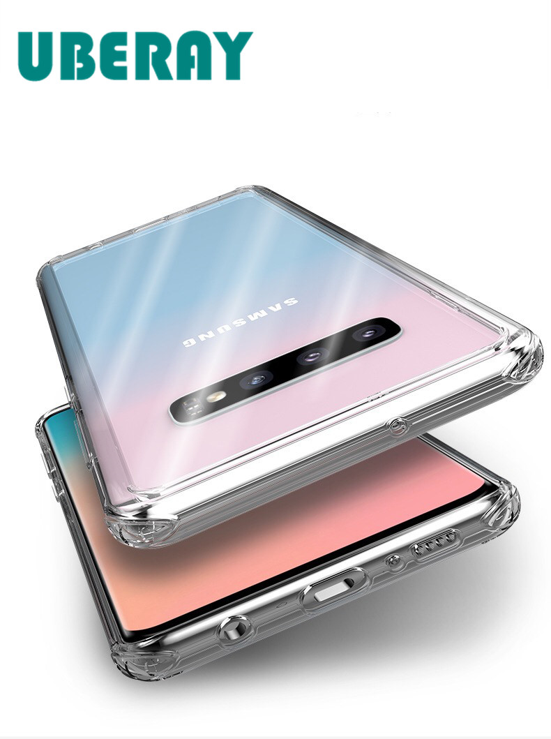 UBERAY Clear Case Shockproof Cover For <font><b>Samsung</b></font> Galaxy S10 S10Plus <font><b>S10E</b></font> Phone Cases Hard PC Coque Simple Business <font><b>Capa</b></font> image