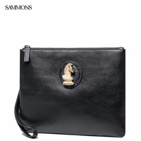 New SAMMONS Brand Design Fashion Luxury Gold Chess Horse Head Genuine Cow Leather Casual Men Handbag