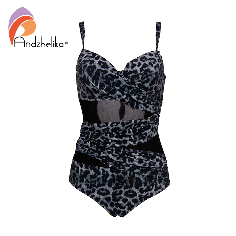 Image 2 - Andzhelika Sexy Leopard One Piece Swimsuit Plus Size Swimwear Mesh Swimwear Bathing Suits Bodysuit womens swimming suitBody Suits   -