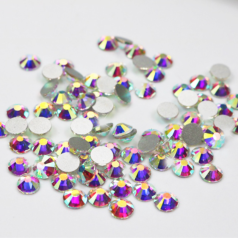 Të gjitha përmasat Non Hot Hot Rhinestones Fix Crystal AB Glass Stones Machine Cut Flatback Strass For Art Nail