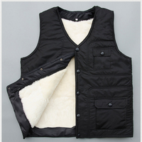 Real Fur Male Vest Waistcoat Thermal Vest Men S Clothing Genuine Leather Liner Wool Sheepskin Black
