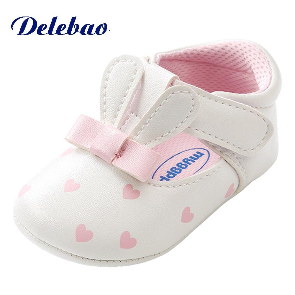Aranyos nyúl fül Baby cipő Lány szív alakú PU Butterfly knot - Babacipő